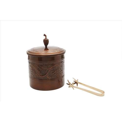 3 Qt. Antique Embossed Heritage Ice Bucket with Brass Tongs