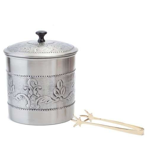3 Qt. Antique Embossed  Victoria Ice Bucket w/ Brass tongs