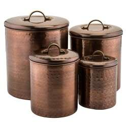 4 Pc. Hammered Antique Copper Canister Set - 4Qt., 2Qt., 1½Qt.,1Qt