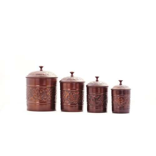 "4 Piece Antique Embossed ""Heritage"" Canister Set"