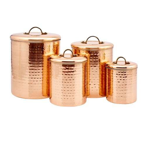 """4 Piece Decor Copper """"Hammered"""" Canister Set"""