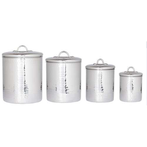 4 Piece Hammered Stainless Steel Canister Set with Fresh Seal Lids