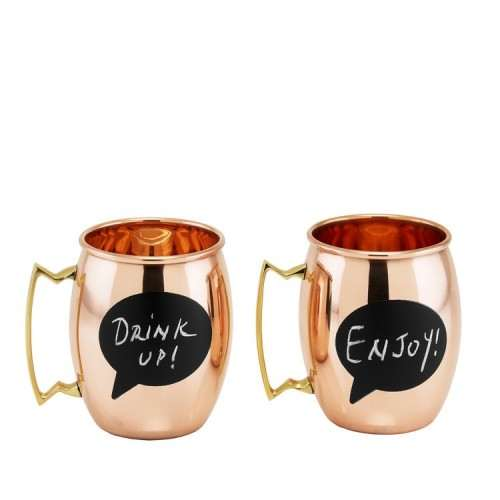 Chalkboard Solid Copper Moscow Mule Mugs 16 Oz. Set of 2
