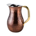 Décor Antique Copper Hammered Water Pitcher, Brass Ice Guard & Handle, 2¼ Qt.