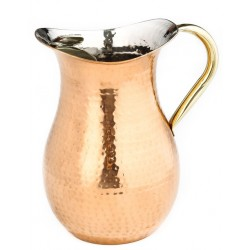 Décor Copper Hammered Water Pitcher, Brass Ice Guard & Handle, 2¼ Qt.