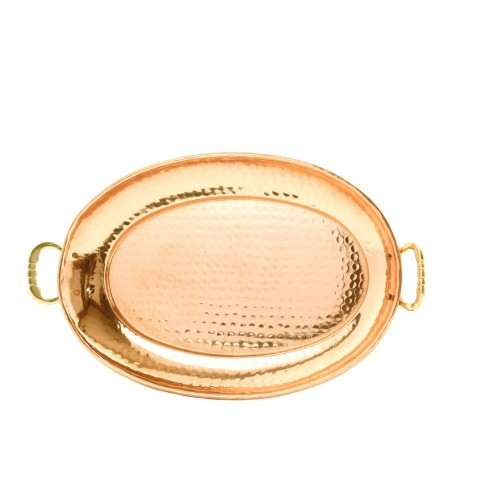 """Hammered Décor Copper Oval Tray with Cast Brass Handles 17"""" x 13""""."""