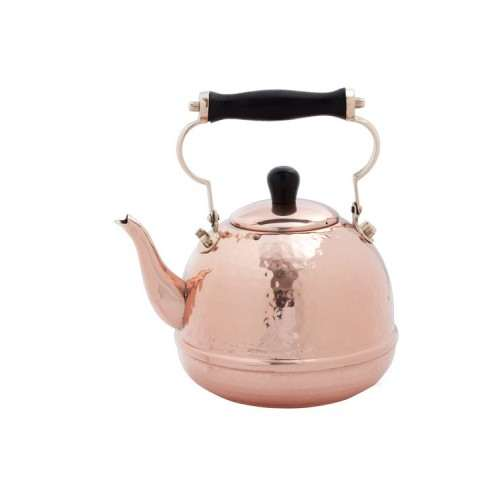 Hammered Solid Copper Tea Kettle with Wood Handle, 2 Qt