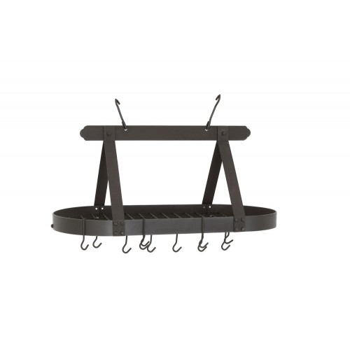 Oval Graphite Hanging Pot Rack with Grid & 16 Hooks