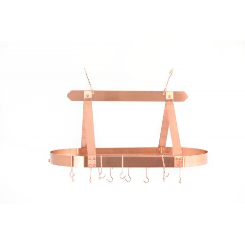 Oval Satin Copper Hanging Pot Rack with Grid & 16 Hooks