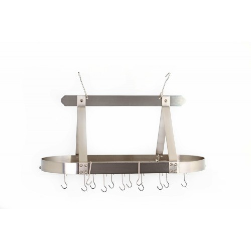 Oval Satin Nickel Hanging Pot Rack with Grid & 16 Hooks