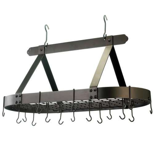 Oval Oiled Bronze Hanging Pot Rack with Grid & 16 Hooks