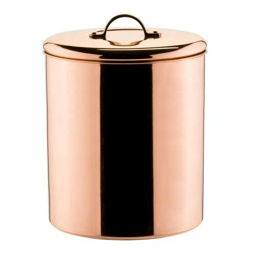 Polished Copper Cookie Jar with Brass knob, 4Qt.