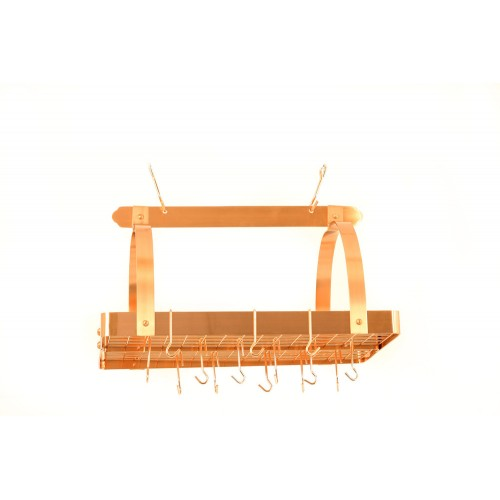 Satin Copper Rectangular Hanging Pot Rack with Grid & 24 Hooks