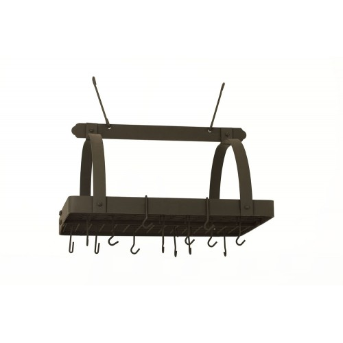 Graphite Rectangular Hanging Pot Rack with Grid & 24 Hooks