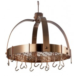 Satin Copper Dome Hanging Pot Rack with Grid & 16 Hooks