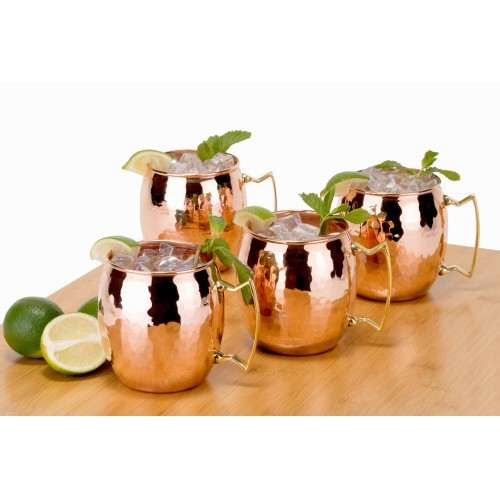Set of 4 Hammered Solid Copper Moscow Mule Mugs, 16 Oz.