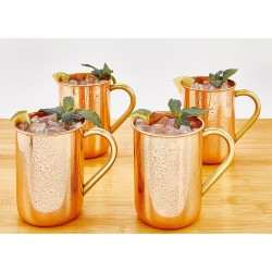 Set of 4 Solid Copper Straight Sided Moscow Mule Mugs, 14 Oz.