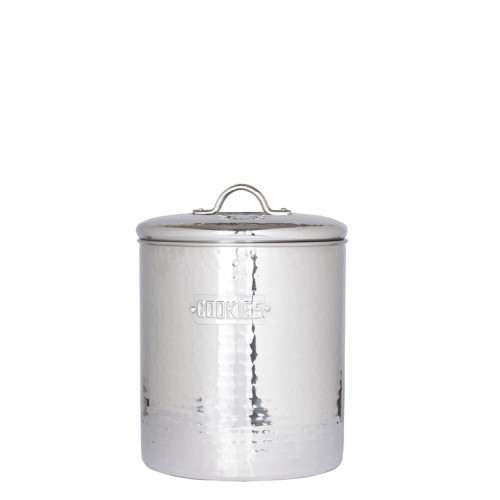 Stainless Steel Hammered Cookie Jar with Fresh Seal Cover, 4 Qt