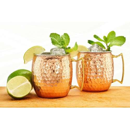 Two-Ply Hammered Solid Copper/Stainless Steel 16 Oz. Moscow Mule Mugs, 2 Piece Set