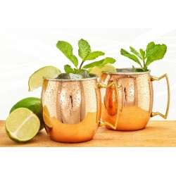 Two-Ply Solid Copper/Stainless Steel 16 Oz. Moscow Mule Mugs, 2 Piece Set