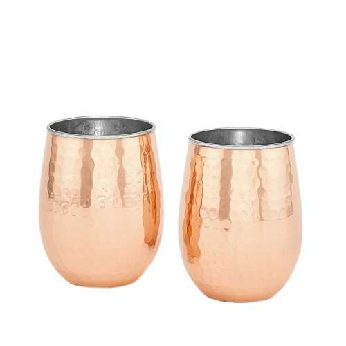 Two-Ply Stemless Wine Glasses, Hammered Solid Copper/Stainless Steel, 2 Piece Set