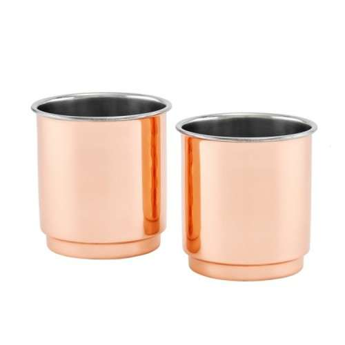 Two-Ply Whiskey Tumblers, Solid Copper/Stainless Steel, 2 Piece Set
