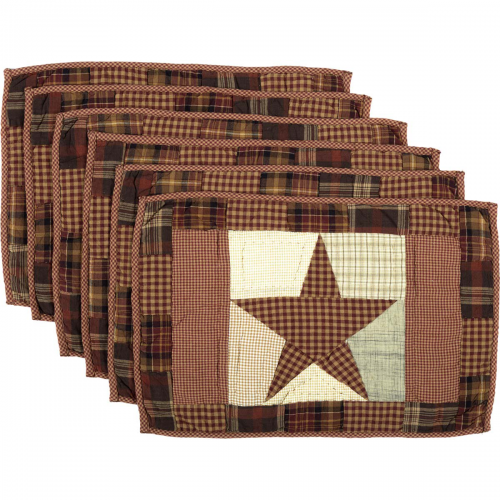 Abilene Star Quilted Placemat Set of 6 12x18