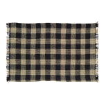 Burlap Black Check Placemat Fringed Set of 6 12x18