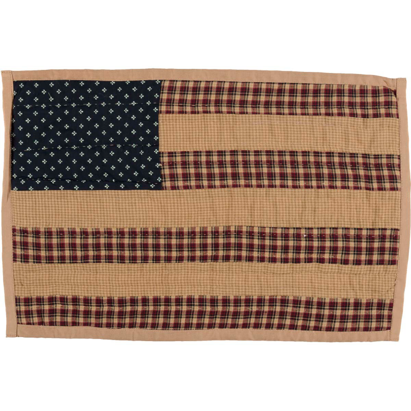 Patriotic Patch Placemat Quilted Set Of 6 12x18 Country