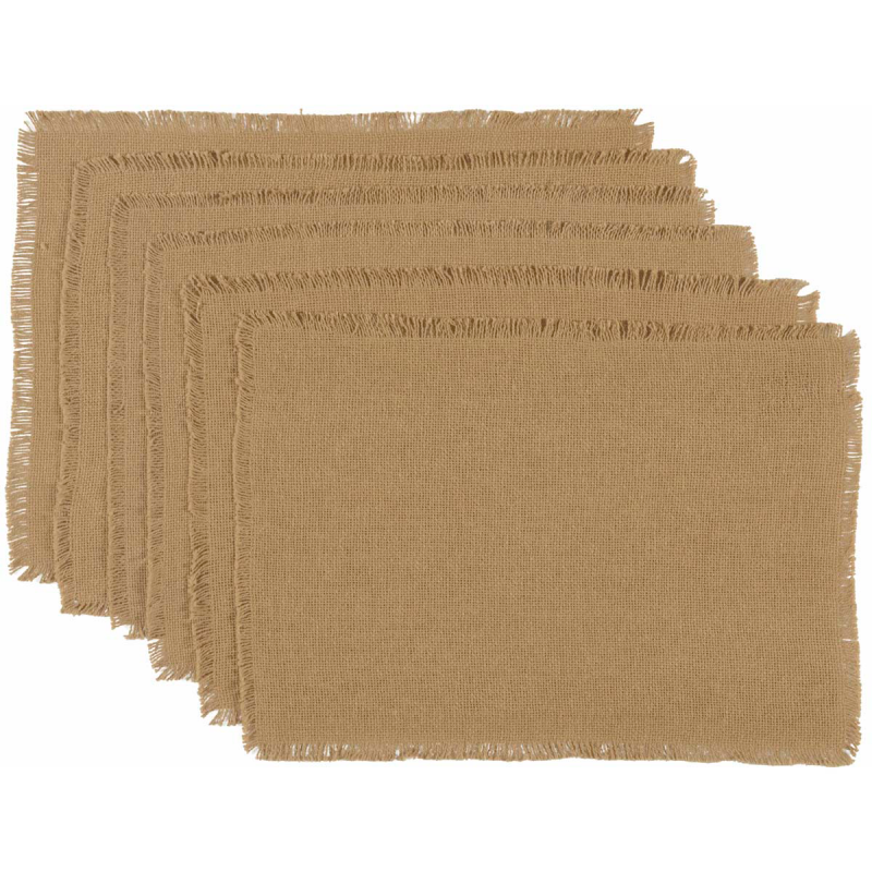 Burlap Natural Placemat Set Of 6 Fringed 12x18 Country