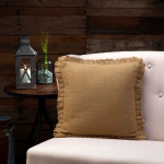 Burlap Natural Ruffled Fringed Pillow 16x16