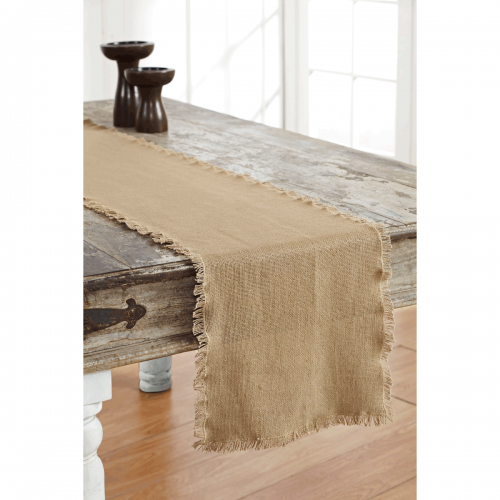Burlap Natural Runner Fringed 13x36
