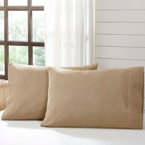 Burlap Natural Standard Pillow Case Set of 2 21x30