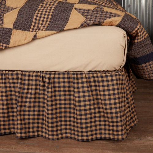Navy Check King Bed Skirt