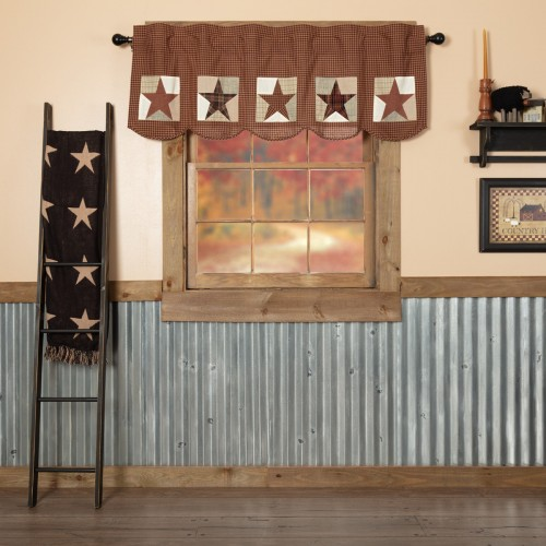 Abilene Patch Block and Star Valance Curtain 20x72