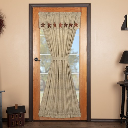 Abilene Star Country Primitive Door Curtain Panel with Attached Valance 72x40