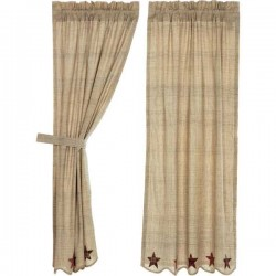Abilene Star Scalloped Lined Short Panel Curtains 63""