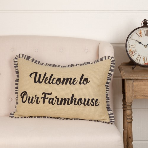 Ashmont Burlap Vintage Farmhouse Pillow