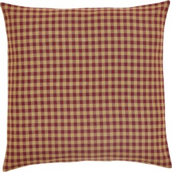 Burgundy Check Fabric Euro Sham 26x26