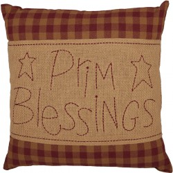 Burgundy Check Prim Blessings Pillow 12x12