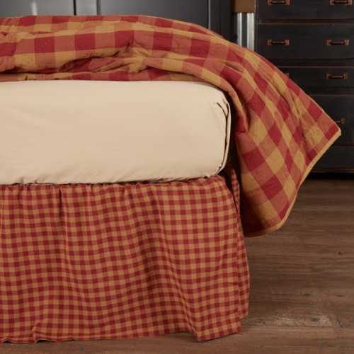 Burgundy Check Twin Bed Skirt 39x76x16