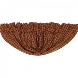 Burgundy Check Balloon Valance Curtain 15x60