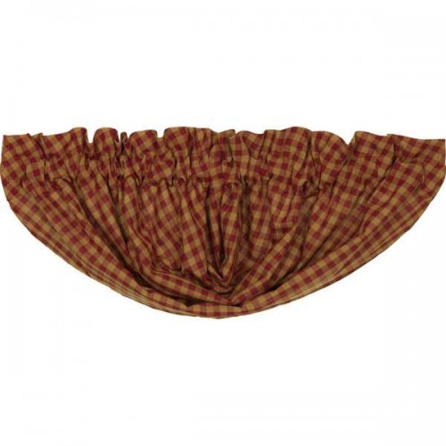 Burgundy Check Lined Balloon Valance