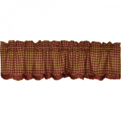 Burgundy Check Scalloped Lined Layered Valance 72""