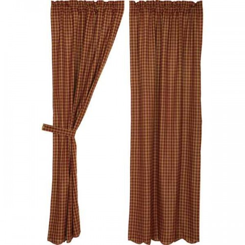 Burgundy Check Scalloped Curtain Panel Set of 2 84x40