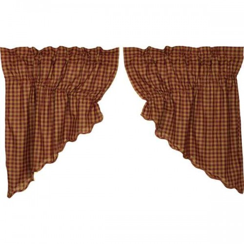 Burgundy Check Scalloped Prairie Swag Set of 2 36x36x18