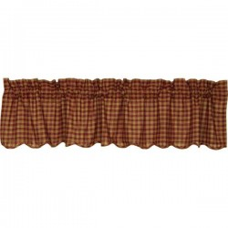 Burgundy Check Scalloped Valance 16x72