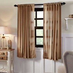 Burlap Natural Short Curtain Panel Set of 2 63x36