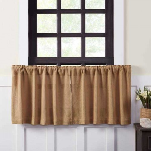 Burlap Natural Tier Curtains Set of 2 L24xW36