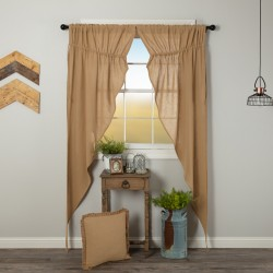 Burlap Natural Long Prairie Curtain Panel Set of 2 84x36x18